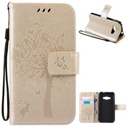 Embossing Butterfly Tree Leather Wallet Case for Samsung Galaxy J1 Ace J110 - Champagne