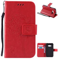 Embossing Butterfly Tree Leather Wallet Case for Samsung Galaxy J1 Ace J110 - Red