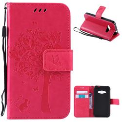 Embossing Butterfly Tree Leather Wallet Case for Samsung Galaxy J1 Ace J110 - Rose