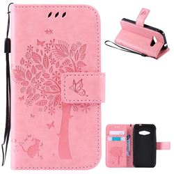 Embossing Butterfly Tree Leather Wallet Case for Samsung Galaxy J1 Ace J110 - Pink