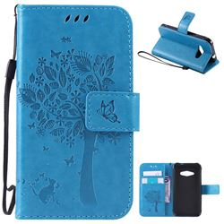 Embossing Butterfly Tree Leather Wallet Case for Samsung Galaxy J1 Ace J110 - Blue