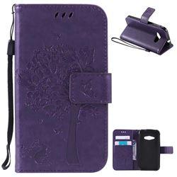 Embossing Butterfly Tree Leather Wallet Case for Samsung Galaxy J1 Ace J110 - Purple