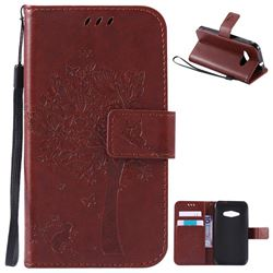 Embossing Butterfly Tree Leather Wallet Case for Samsung Galaxy J1 Ace J110 - Brown