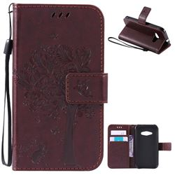 Embossing Butterfly Tree Leather Wallet Case for Samsung Galaxy J1 Ace J110 - Coffee