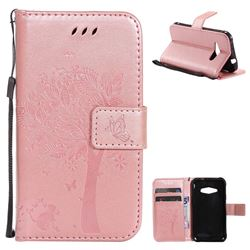 Embossing Butterfly Tree Leather Wallet Case for Samsung Galaxy J1 Ace J110 - Rose Pink