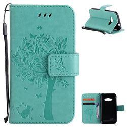 Embossing Butterfly Tree Leather Wallet Case for Samsung Galaxy J1 Ace J110 - Cyan