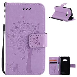 Embossing Butterfly Tree Leather Wallet Case for Samsung Galaxy J1 Ace J110 - Violet