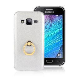 Luxury Soft TPU Glitter Back Ring Cover with 360 Rotate Finger Holder Buckle for Samsung Galaxy J2 J200 - White