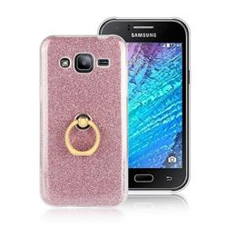 Luxury Soft TPU Glitter Back Ring Cover with 360 Rotate Finger Holder Buckle for Samsung Galaxy J2 J200 - Pink