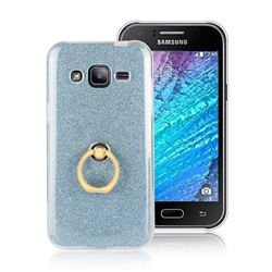 Luxury Soft TPU Glitter Back Ring Cover with 360 Rotate Finger Holder Buckle for Samsung Galaxy J2 J200 - Blue