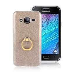 Luxury Soft TPU Glitter Back Ring Cover with 360 Rotate Finger Holder Buckle for Samsung Galaxy J2 J200 - Golden