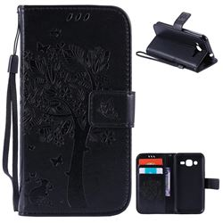 Embossing Butterfly Tree Leather Wallet Case for Samsung Galaxy J2 J200 - Black