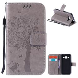 Embossing Butterfly Tree Leather Wallet Case for Samsung Galaxy J2 J200 - Grey
