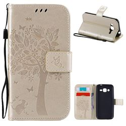 Embossing Butterfly Tree Leather Wallet Case for Samsung Galaxy J2 J200 - Champagne