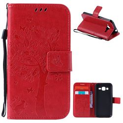 Embossing Butterfly Tree Leather Wallet Case for Samsung Galaxy J2 J200 - Red