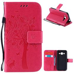 Embossing Butterfly Tree Leather Wallet Case for Samsung Galaxy J2 J200 - Rose