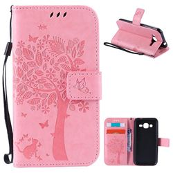Embossing Butterfly Tree Leather Wallet Case for Samsung Galaxy J2 J200 - Pink