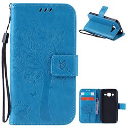 Embossing Butterfly Tree Leather Wallet Case for Samsung Galaxy J2 J200 - Blue