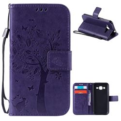 Embossing Butterfly Tree Leather Wallet Case for Samsung Galaxy J2 J200 - Purple
