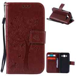 Embossing Butterfly Tree Leather Wallet Case for Samsung Galaxy J2 J200 - Brown