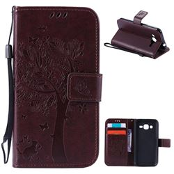 Embossing Butterfly Tree Leather Wallet Case for Samsung Galaxy J2 J200 - Coffee