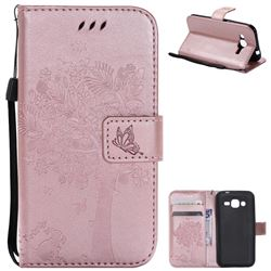 Embossing Butterfly Tree Leather Wallet Case for Samsung Galaxy J2 J200 - Rose Pink