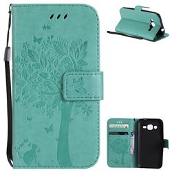 Embossing Butterfly Tree Leather Wallet Case for Samsung Galaxy J2 J200 - Cyan