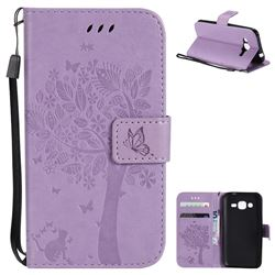 Embossing Butterfly Tree Leather Wallet Case for Samsung Galaxy J2 J200 - Violet