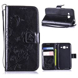 Embossing Butterfly Flower Leather Wallet Case for Samsung Galaxy J2 J200 - Black