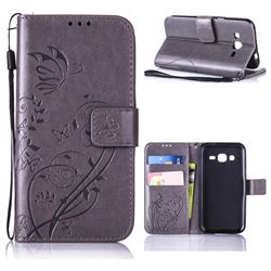 Embossing Butterfly Flower Leather Wallet Case for Samsung Galaxy J2 J200 - Grey