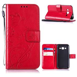 Embossing Butterfly Flower Leather Wallet Case for Samsung Galaxy J2 J200 - Red