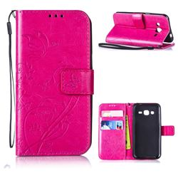 Embossing Butterfly Flower Leather Wallet Case for Samsung Galaxy J2 J200 - Rose
