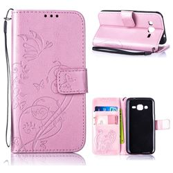 Embossing Butterfly Flower Leather Wallet Case for Samsung Galaxy J2 J200 - Pink