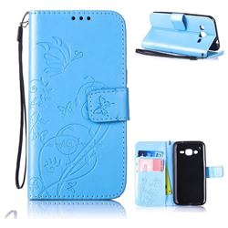 Embossing Butterfly Flower Leather Wallet Case for Samsung Galaxy J2 J200 - Blue