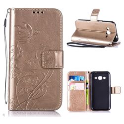 Embossing Butterfly Flower Leather Wallet Case for Samsung Galaxy J2 J200 - Champagne