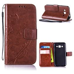 Embossing Butterfly Flower Leather Wallet Case for Samsung Galaxy J2 J200 - Brown