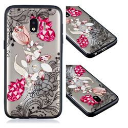 Tulip Lace Diamond Flower Soft TPU Back Cover for Samsung Galaxy J2 Core