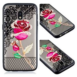 Rose Lace Diamond Flower Soft TPU Back Cover for Samsung Galaxy J2 Core
