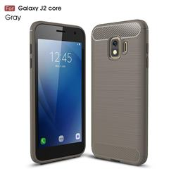 Luxury Carbon Fiber Brushed Wire Drawing Silicone TPU Back Cover for Samsung Galaxy J2 Core - Gray