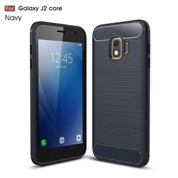 Luxury Carbon Fiber Brushed Wire Drawing Silicone TPU Back Cover for Samsung Galaxy J2 Core - Navy
