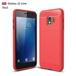 Luxury Carbon Fiber Brushed Wire Drawing Silicone TPU Back Cover for Samsung Galaxy J2 Core - Red