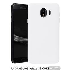 Howmak Slim Liquid Silicone Rubber Shockproof Phone Case Cover for Samsung Galaxy J2 Core - White