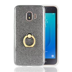 Luxury Soft TPU Glitter Back Ring Cover with 360 Rotate Finger Holder Buckle for Samsung Galaxy J2 Core - Black
