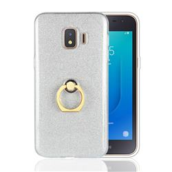 Luxury Soft TPU Glitter Back Ring Cover with 360 Rotate Finger Holder Buckle for Samsung Galaxy J2 Core - White