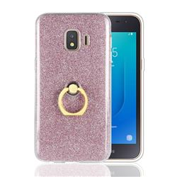 Luxury Soft TPU Glitter Back Ring Cover with 360 Rotate Finger Holder Buckle for Samsung Galaxy J2 Core - Pink