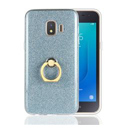 Luxury Soft TPU Glitter Back Ring Cover with 360 Rotate Finger Holder Buckle for Samsung Galaxy J2 Core - Blue