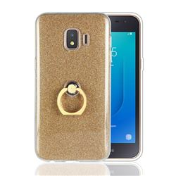 Luxury Soft TPU Glitter Back Ring Cover with 360 Rotate Finger Holder Buckle for Samsung Galaxy J2 Core - Golden