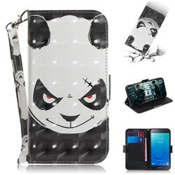 Angry Bear 3D Painted Leather Wallet Phone Case for Samsung Galaxy J2 Core