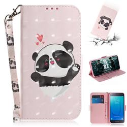 Heart Cat 3D Painted Leather Wallet Phone Case for Samsung Galaxy J2 Core
