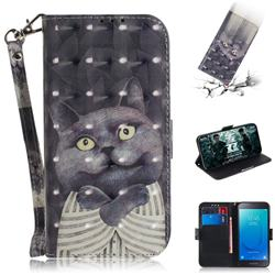 Cat Embrace 3D Painted Leather Wallet Phone Case for Samsung Galaxy J2 Core